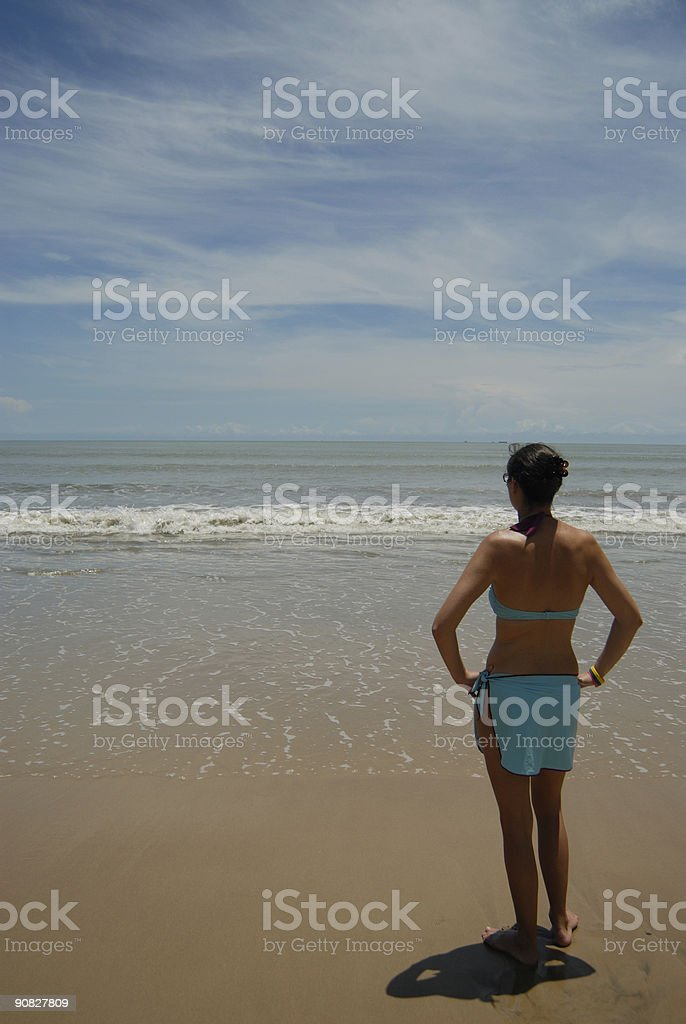 Stock photo of woman on the beach royalty-free stock photo
