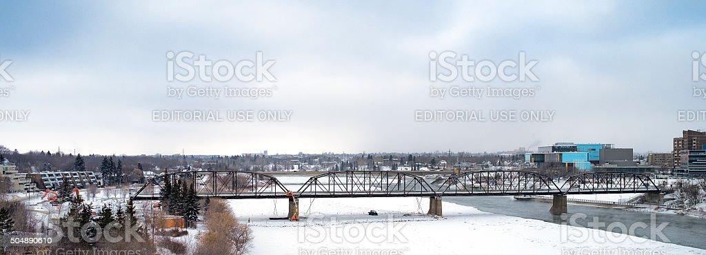 Stock Photo Saskatoon Traffic Bridge Demolition stock photo