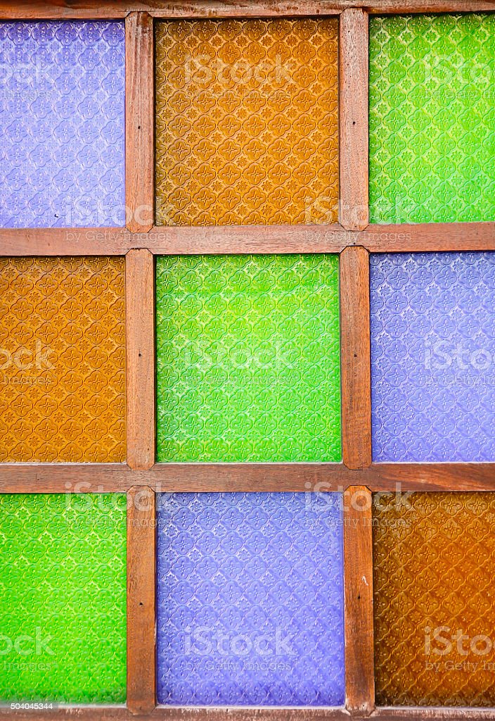 Stock Photo: stained glass window of colored glass stock photo