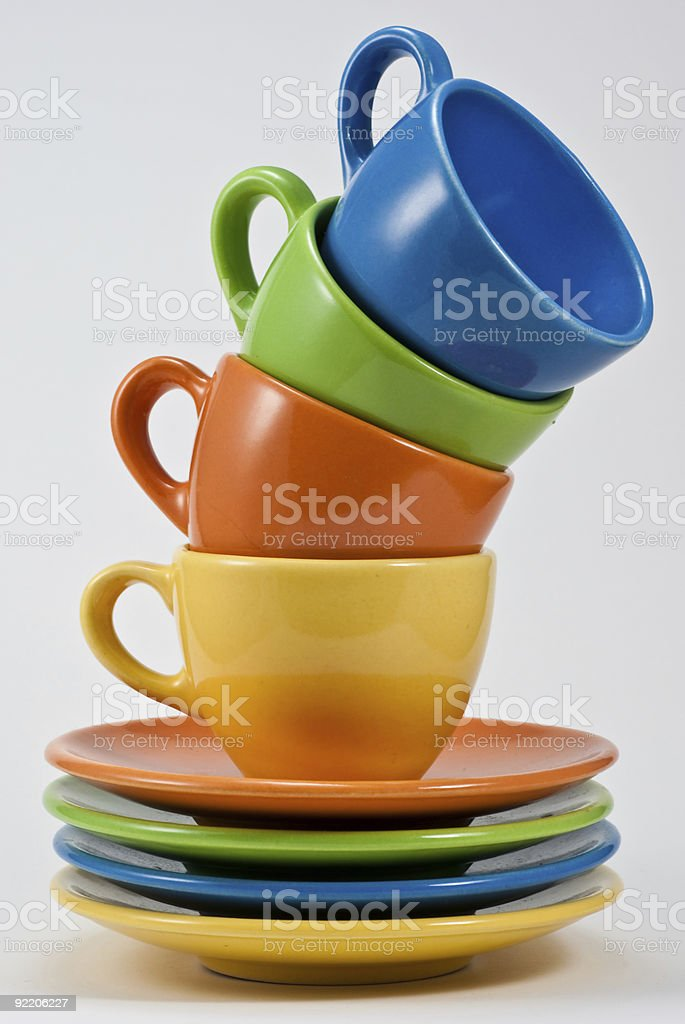 Stock photograph. Multi-coloured Coffee Cups stock photo