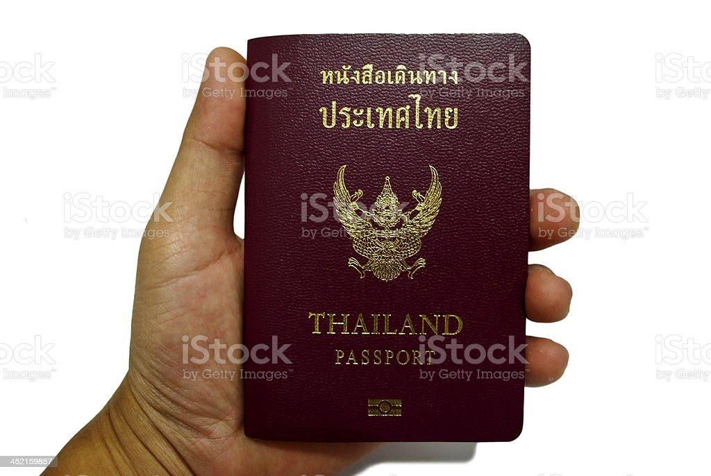 Stock Photo:hand and passport isolated white royalty-free stock photo