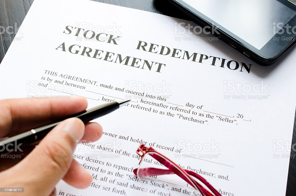 stock redemption agreement stock photo