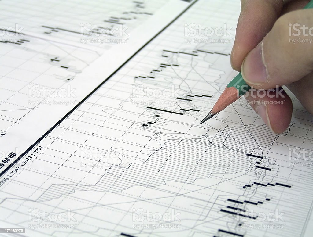 Stock trader at work stock photo