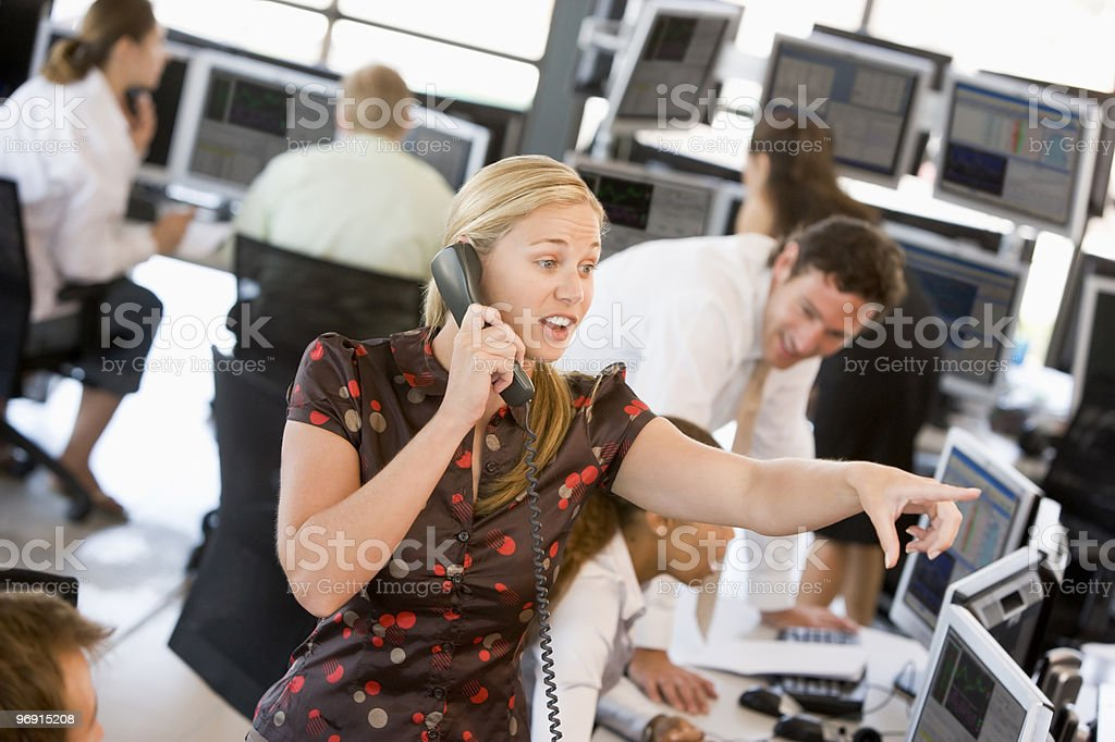 Stock Trader On The Phone stock photo
