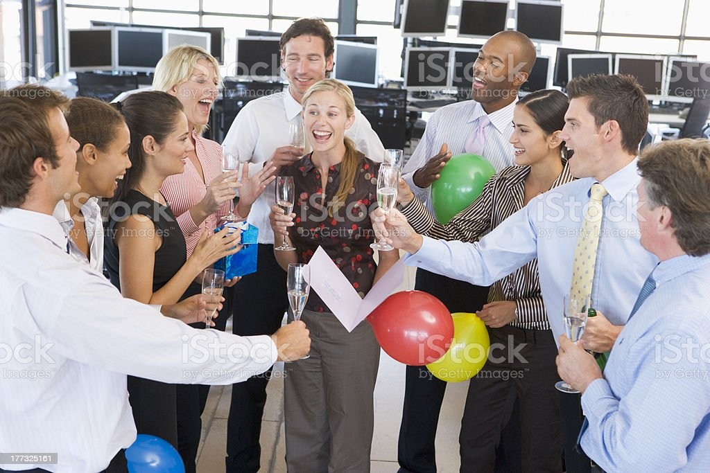 Stock Traders Celebrating In The Office stock photo