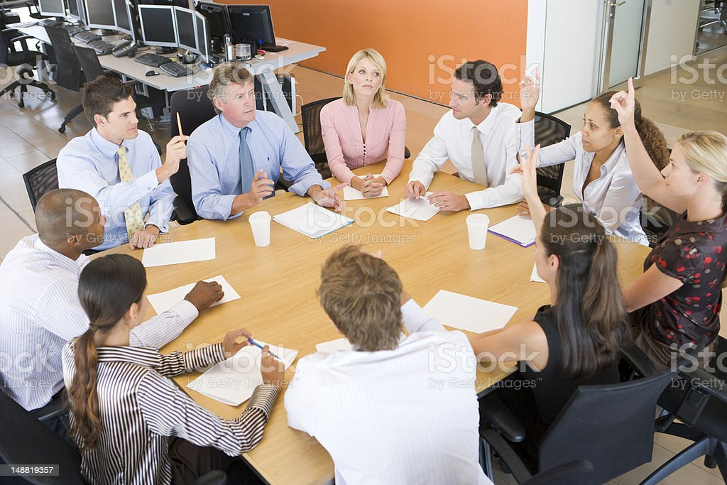 Stock Traders In A Meeting stock photo