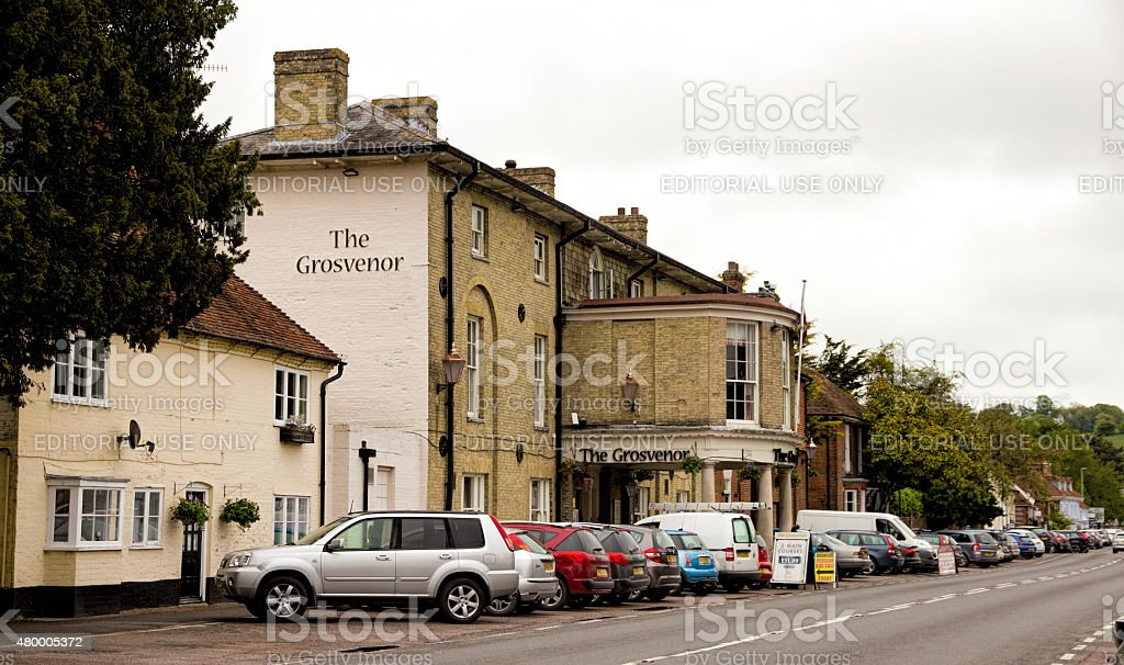 Stockbridge, Hampshire High Street with Cars and Hotel stock photo