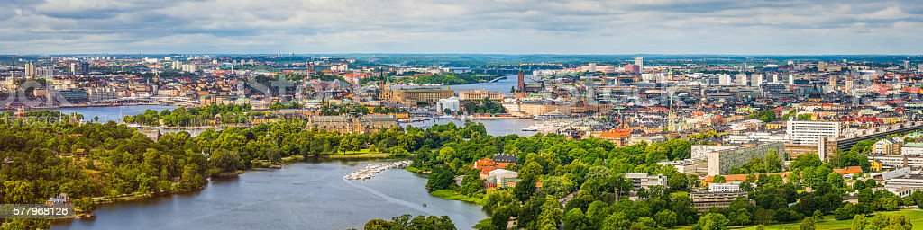 Stockholm aerial cityscape panorama over central landmarks and waterfront Sweden stock photo