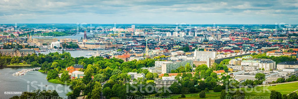 Stockholm aerial panorama over Gamla Stan Norrmalm cityscape landmarks Sweden stock photo