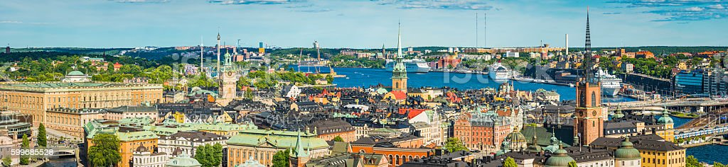 Stockholm aerial panorama over Gamla Stan spires and waterfront Sweden stock photo