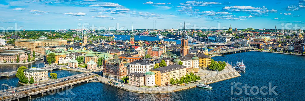 Stockholm aerial panorama over historic Gamla Stan Sodermalm landmarks Sweden stock photo