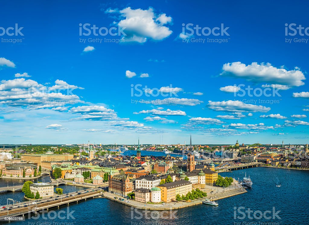 Stockholm aerial view over Gamla Stan spires summer harbour Sweden stock photo