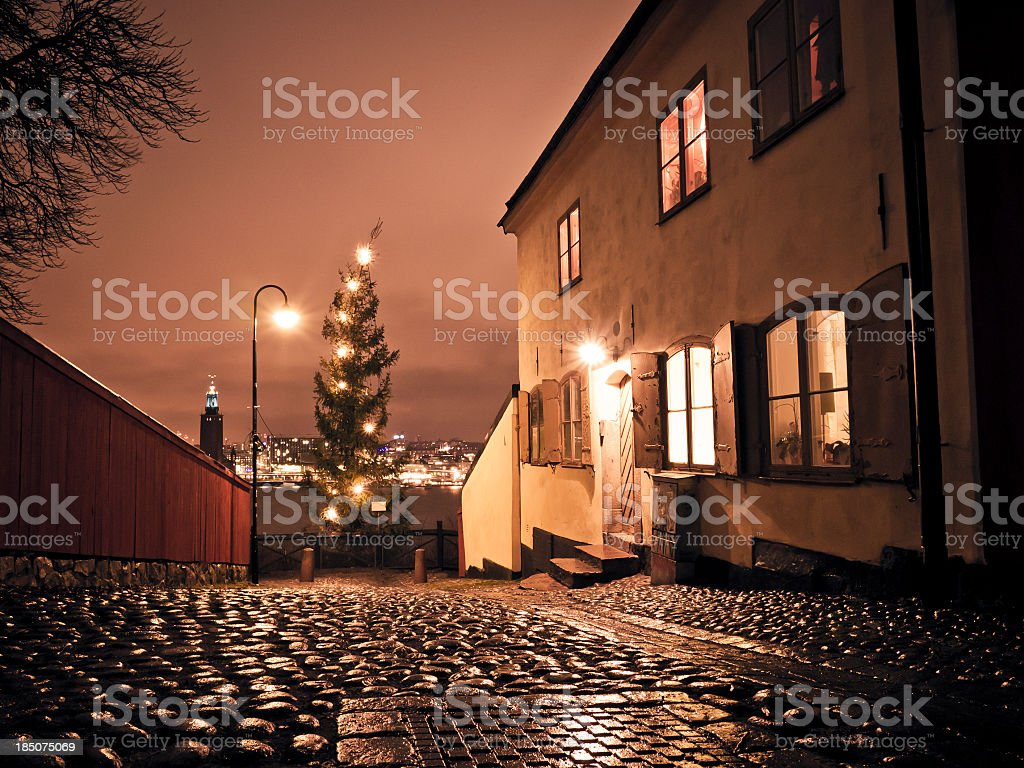 Stockholm Alley With View On Skyline By Night royalty-free stock photo