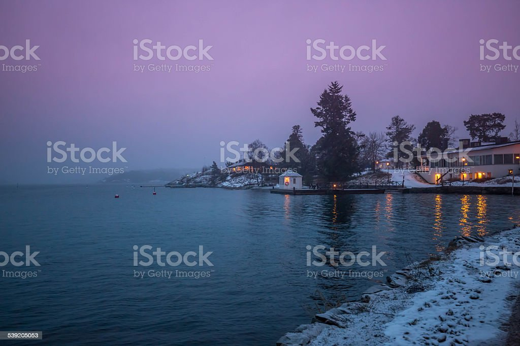 Stockholm archipelago, dusk, winter stock photo
