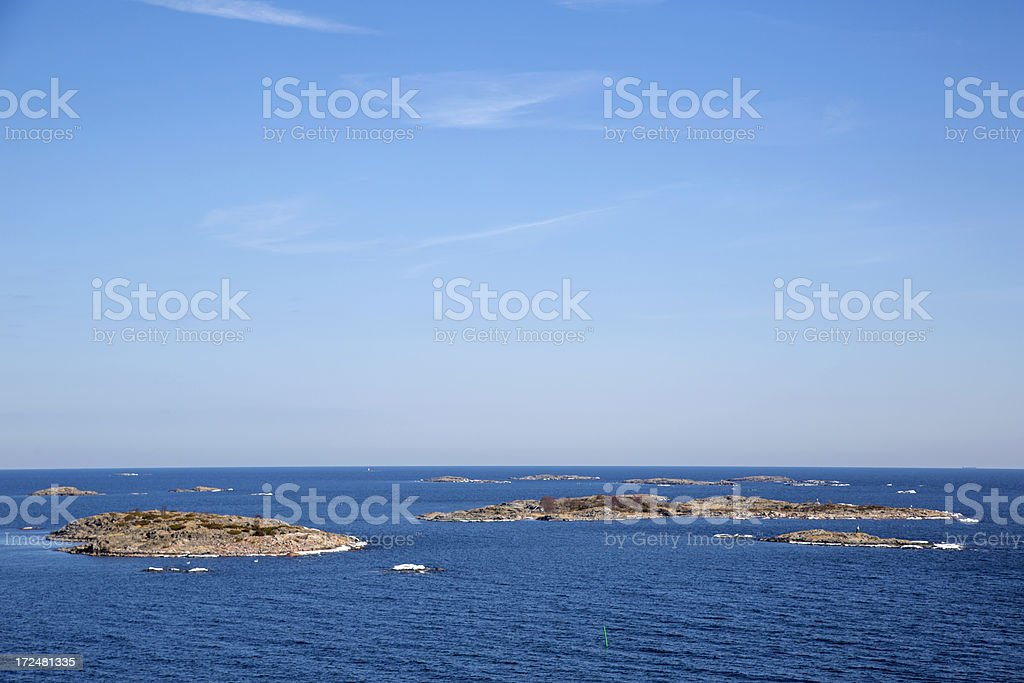 Stockholm Archipelago in spring, last ice melting. stock photo