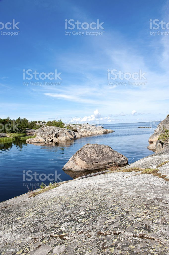 Stockholm archipelago. Nature at the Sweden island stock photo