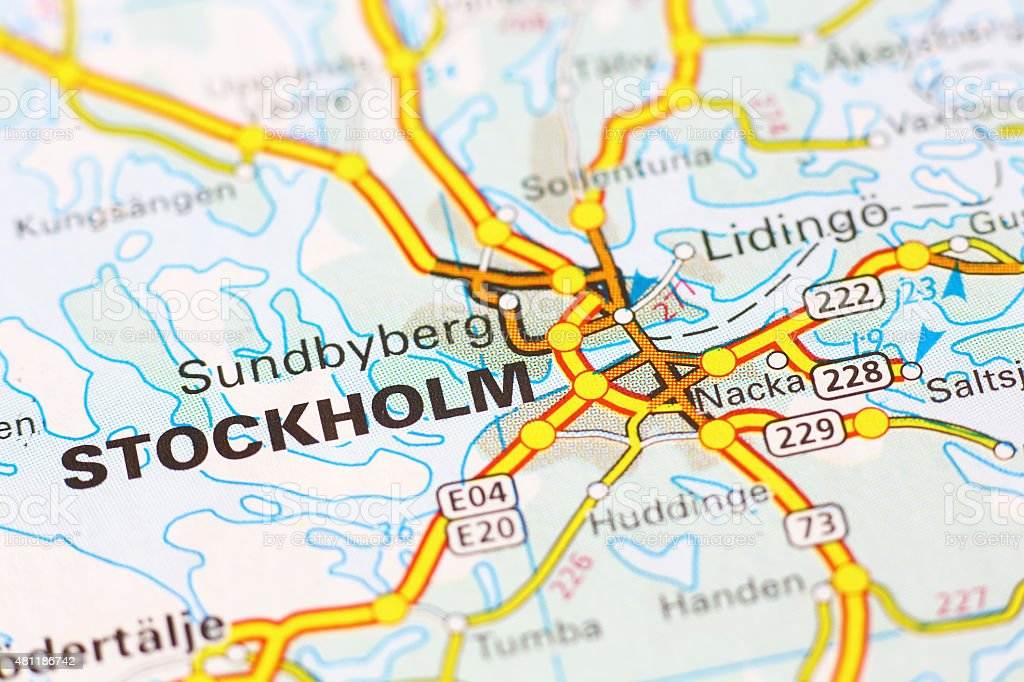 Stockholm area on a map stock photo