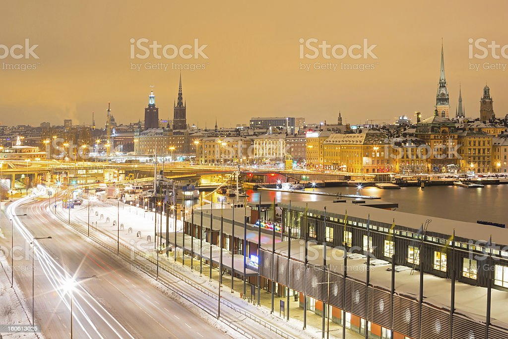 Stockholm at night royalty-free stock photo