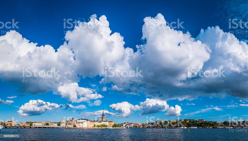 Stockholm big sky cloudscape over Gamla Stan Sodermalm waterfront Sweden stock photo