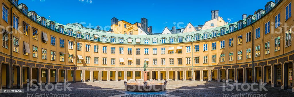 Stockholm Brantingtorget public square panorama Gamla Stan old town Sweden stock photo