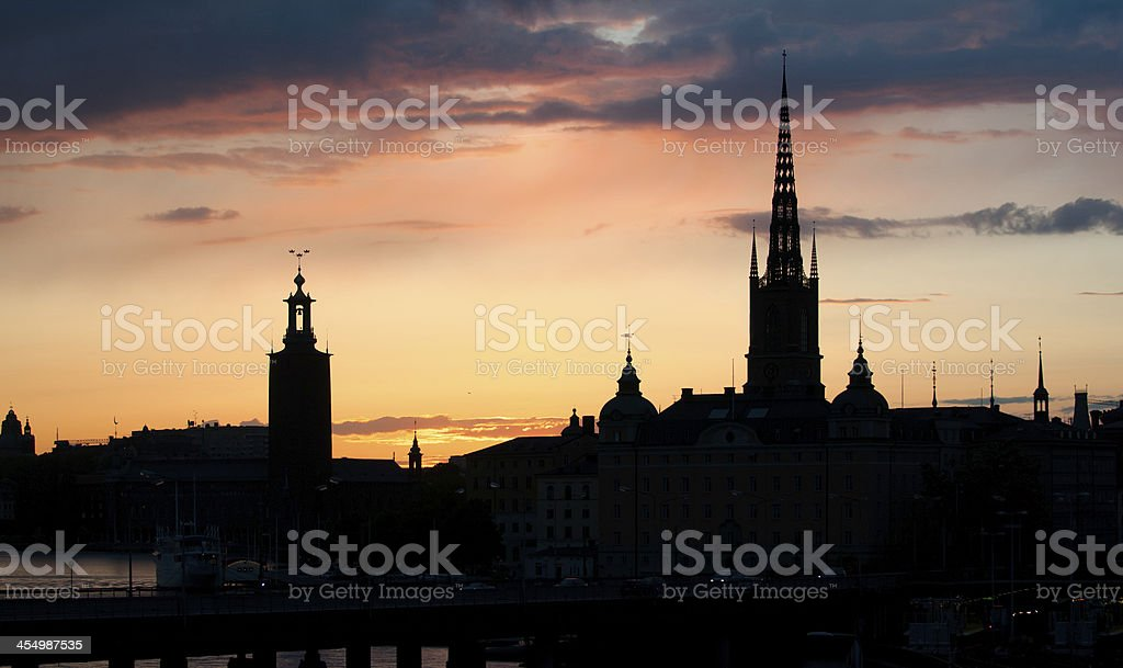 Stockholm by night stock photo