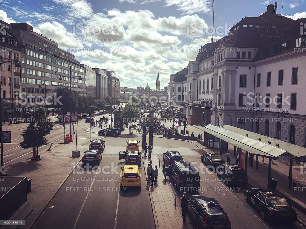 Stockholm Central station with taxis waiting, Sweden stock photo