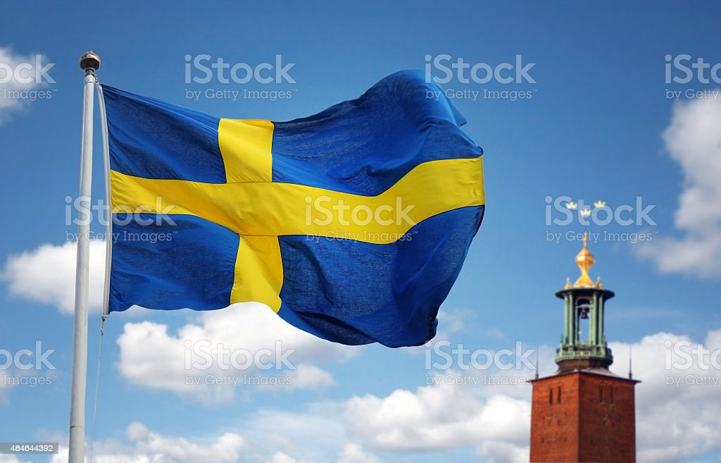 Stockholm city and the Swedish flag stock photo
