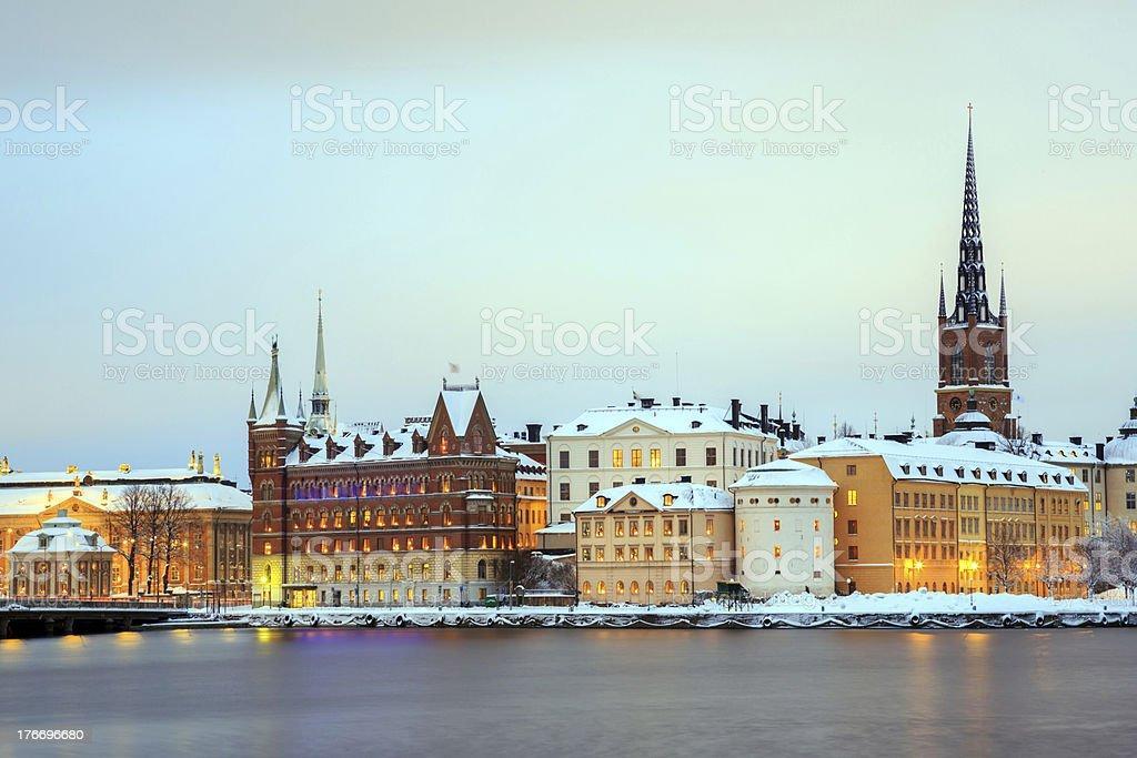 Stockholm city at dusk Sweden royalty-free stock photo