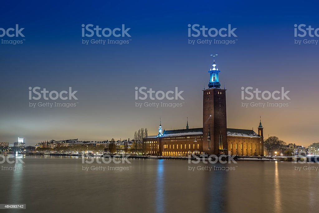 Stockholm city by night. City Hall stock photo