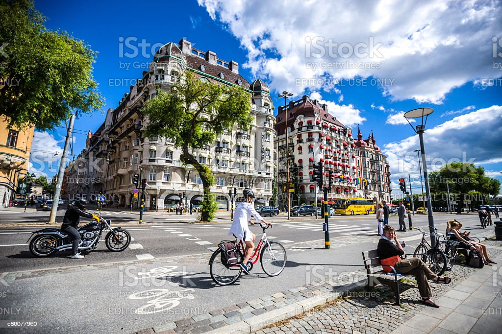Stockholm city center with traffic and people, Sweden stock photo