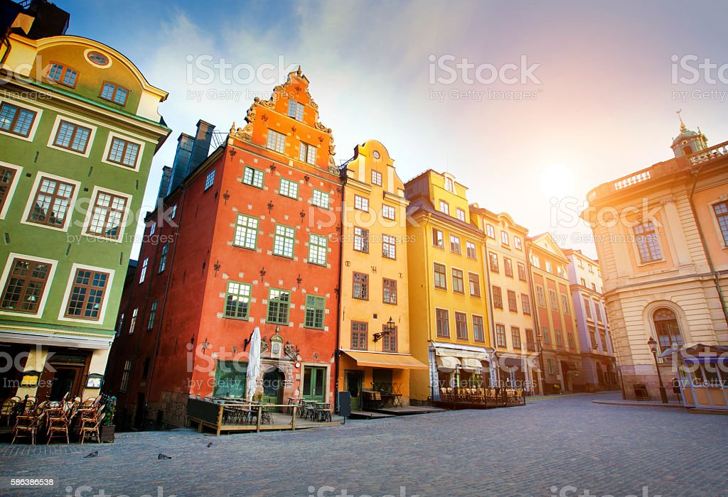 Stockholm city early morning stock photo