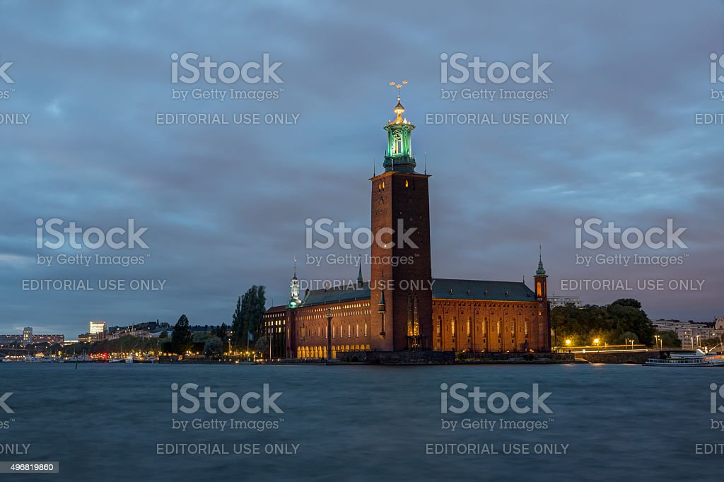 Stockholm city hall at dawn. stock photo