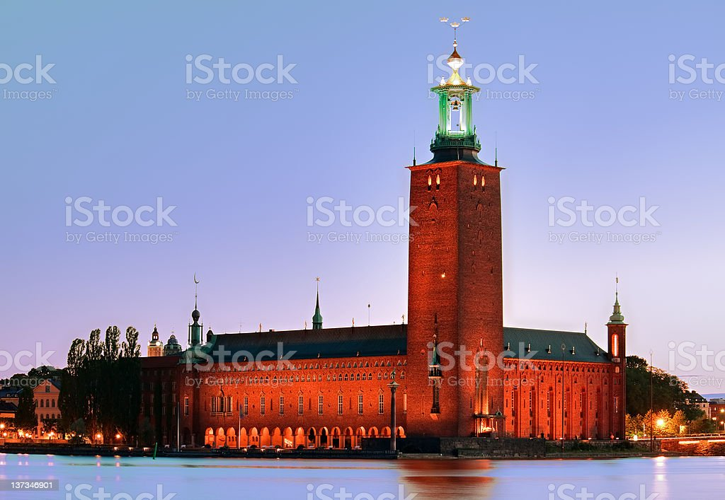 Stockholm City Hall at evening stock photo