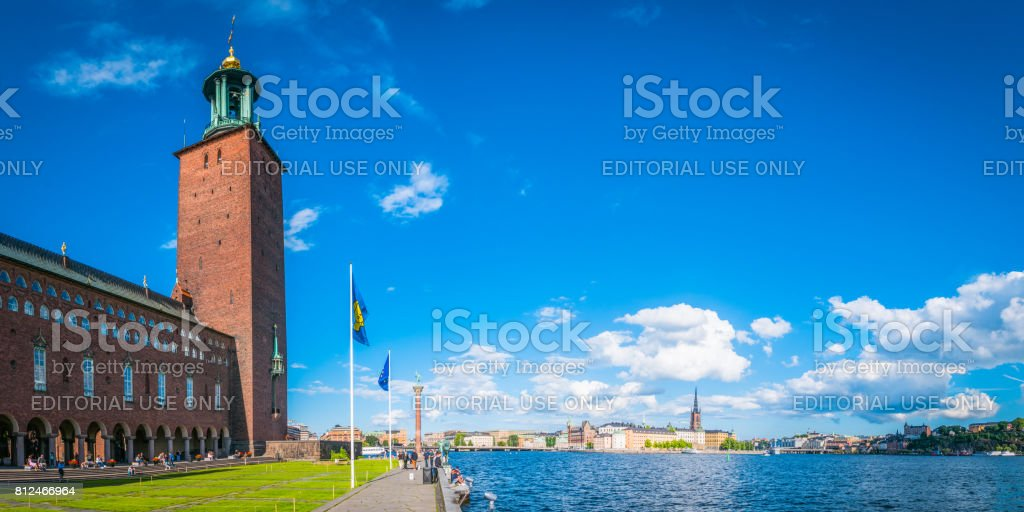Stockholm City Hall overlooking Gamla Stan and Sodermalm panorama Sweden stock photo