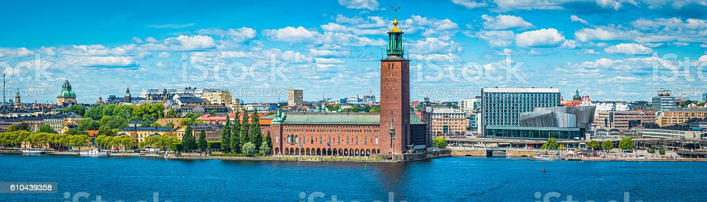 Stockholm City Hall reflecting in harbour waterfront panorama Sweden stock photo