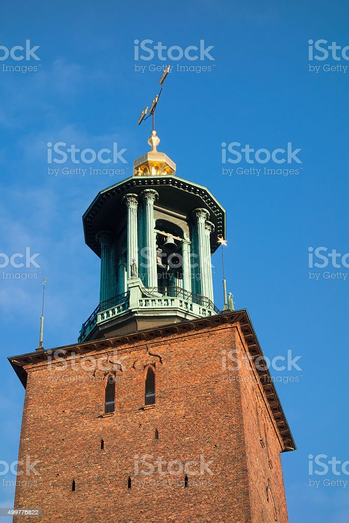 Stockholm city hall tower stock photo
