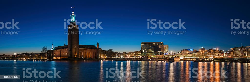 Stockholm City Hall waterfront illuminated Sweden stock photo