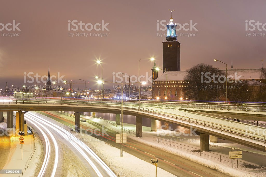Stockholm Cityhall at night Sweden royalty-free stock photo