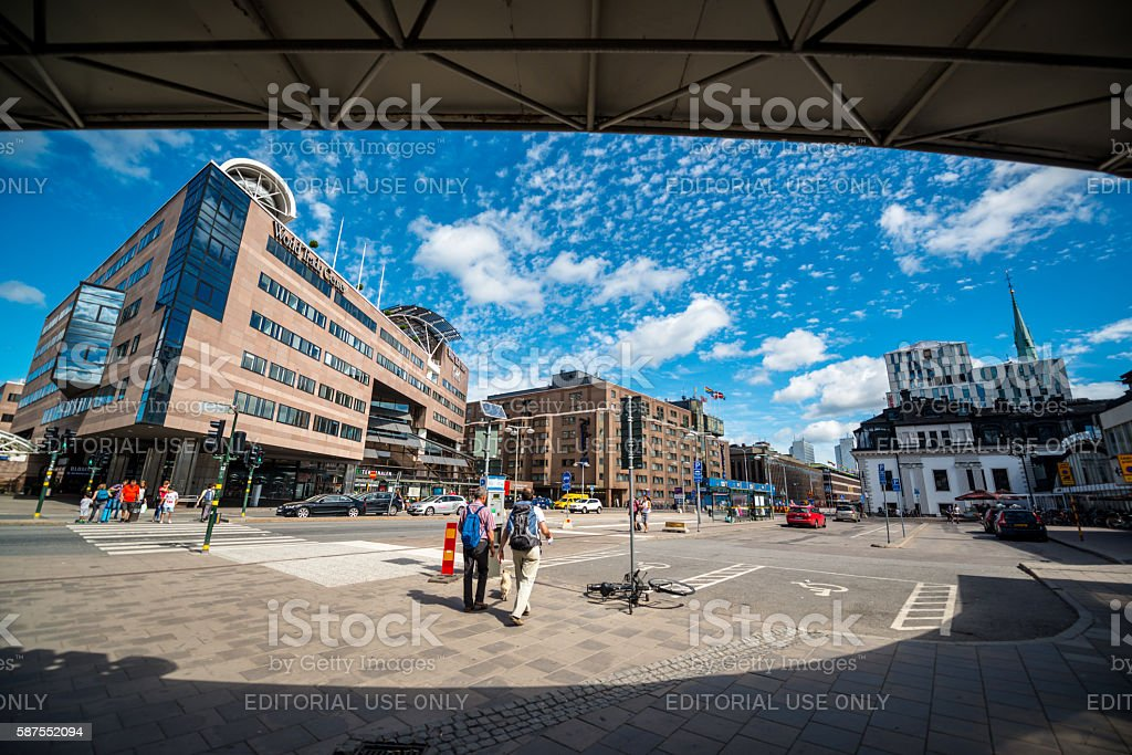 Stockholm cityscape viewed from Central Station stock photo