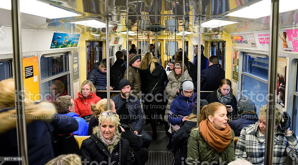Stockholm commuters in subway stock photo