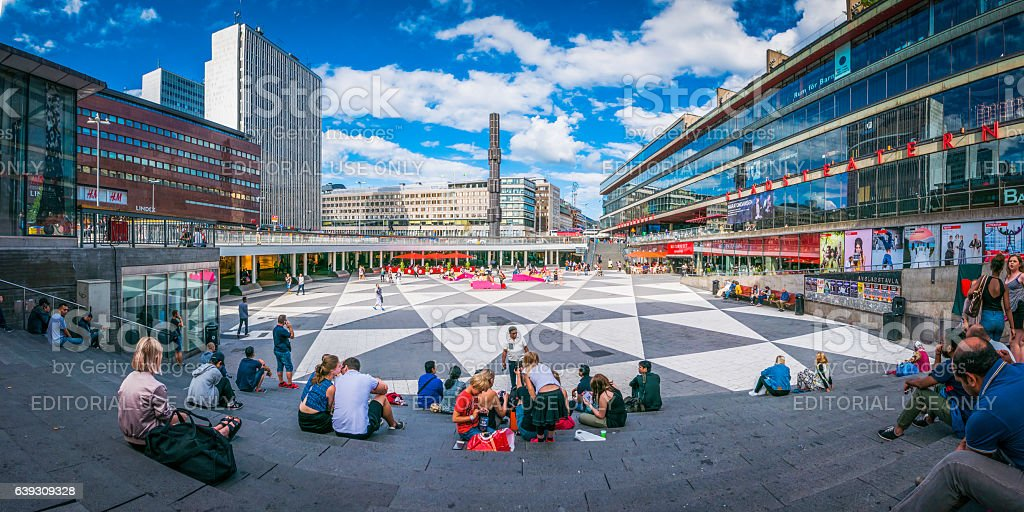 Stockholm crowds of shoppers in Sergels Torg square panorama Sweden stock photo