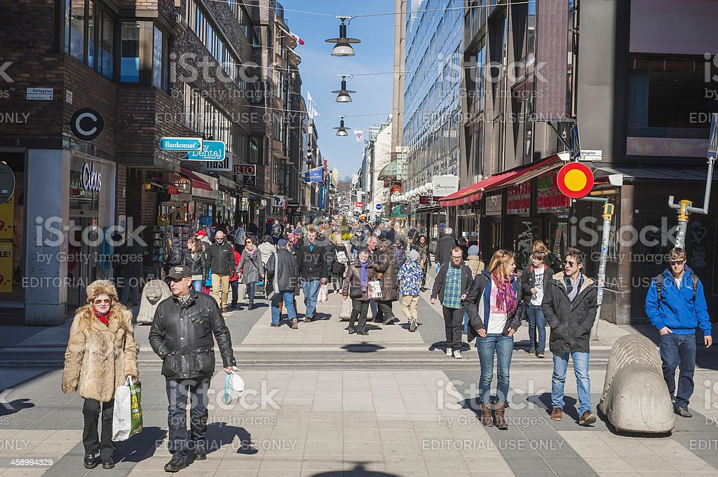 Stockholm crowds on pedestrian shopping street Sweden stock photo