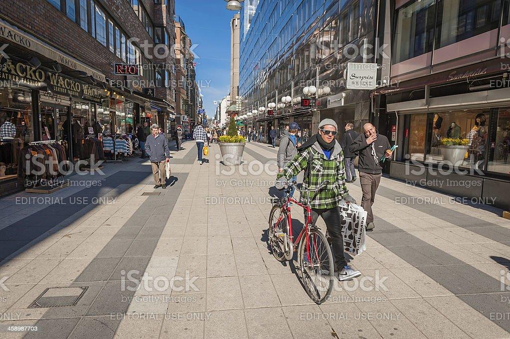 Stockholm Drottninggatan pedestrian shopping street Sweden stock photo