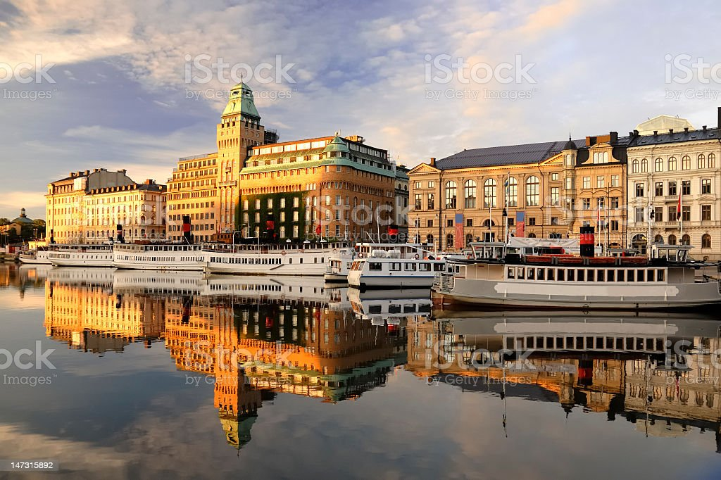 Stockholm embankment with boats in lake royalty-free stock photo