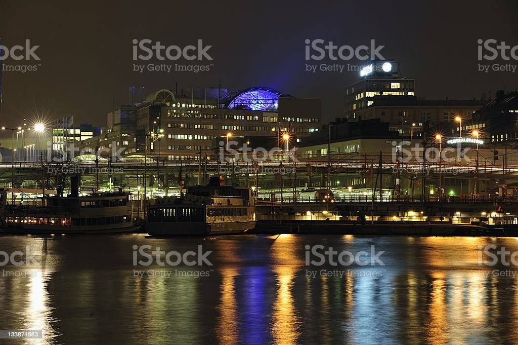 Stockholm embankment with boats. royalty-free stock photo
