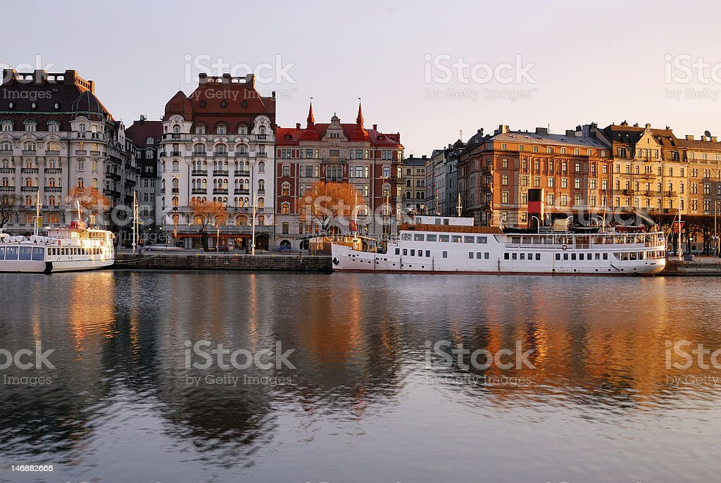 Stockholm embankment with boats royalty-free stock photo