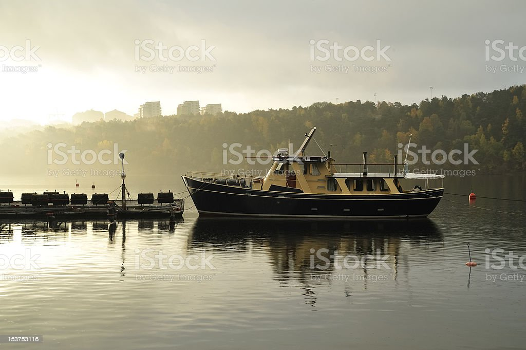 Stockholm embankment with boats stock photo