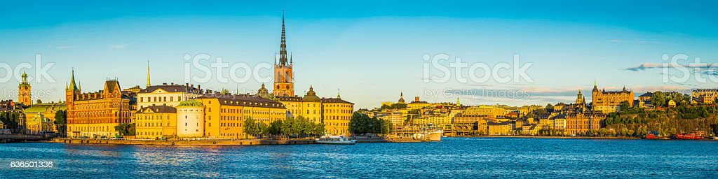 Stockholm Gamla Stan Sodermalm sunset panorama city spires waterfront Sweden stock photo