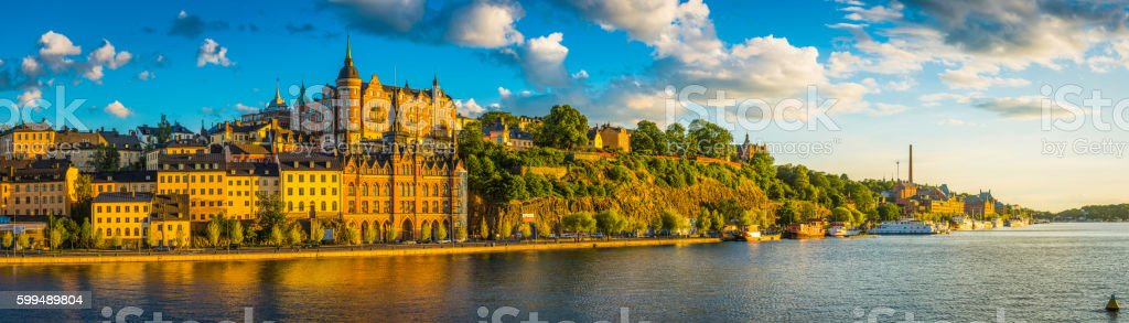 Stockholm golden sunset light on iconic waterfront of Sodermalm Sweden stock photo