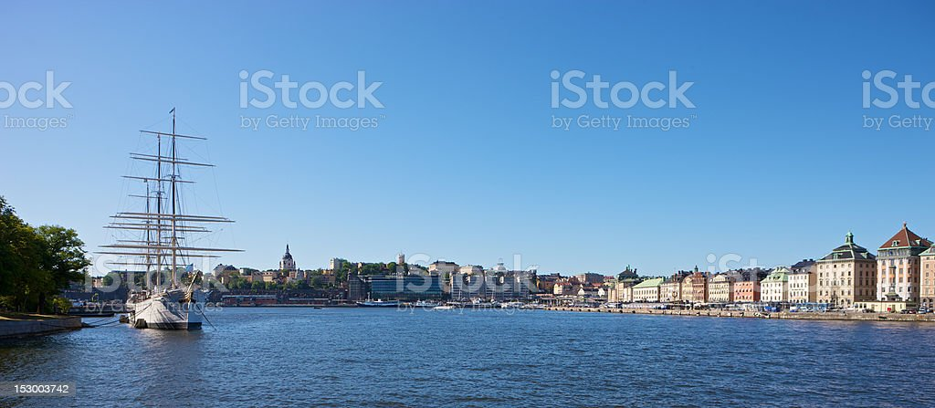 Stockholm harbor view stock photo